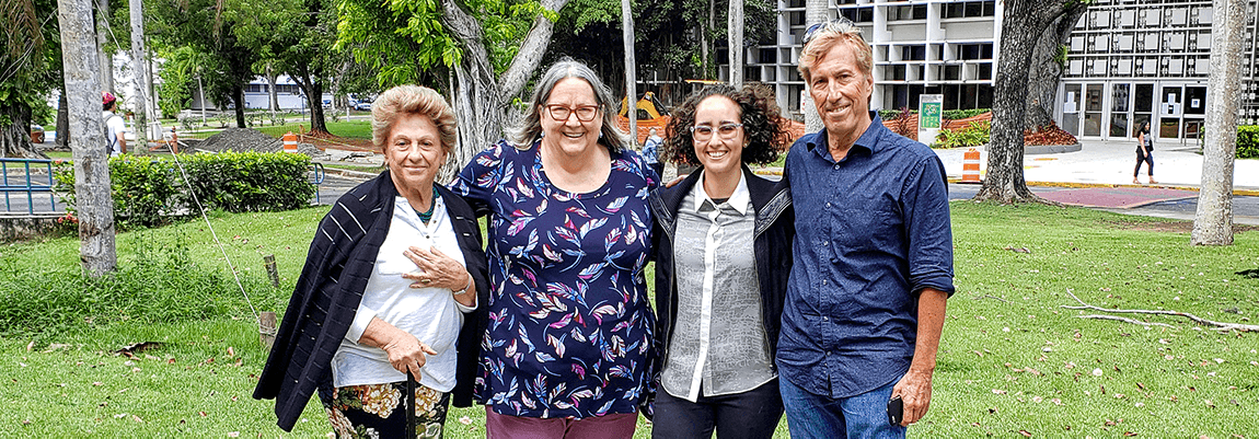 From left to right, Alma Simounet Bey, Ph. D., Prof. H. Jane Barnes Slown, Christine Muñoz Príncipe, and thesis advisor David Auerbach, Ph. D.