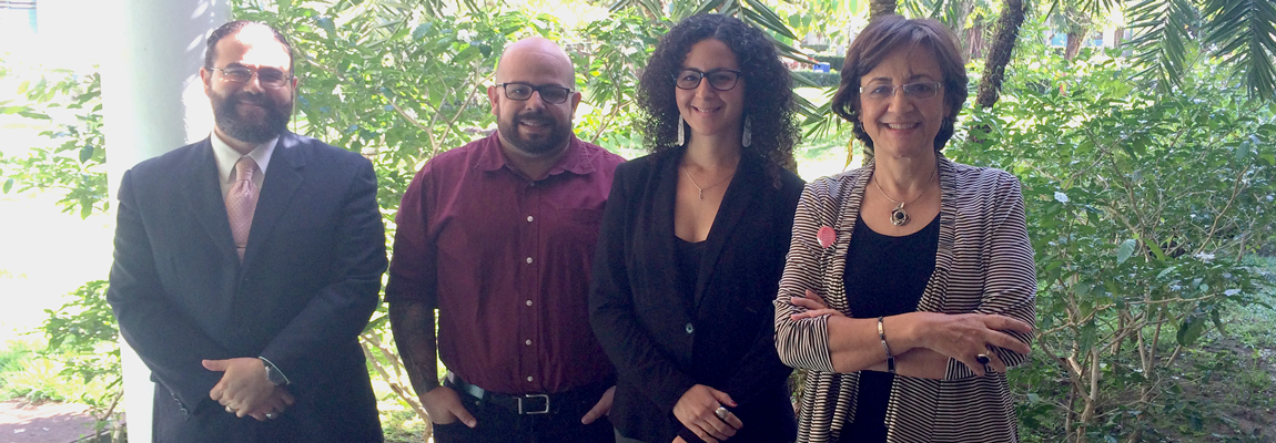 From left to right: Professor José M. Reyes, Alejandro Álvarez Nieves, Ph. D., Liznelia Carrasquillo Reyes, and thesis advisor María C. Hernández, Ph. D.