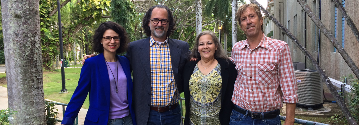 From left to right: Marinelle Vargas Hernández, Luis A. García Nevares, M.A., Melanie Kinch, Esq., and thesis advisor David Auerbach, Ph. D.